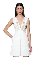 Load image into Gallery viewer, Jewel Embellished and Embroidered White Vneck Mini Dress