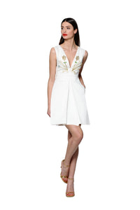 Jewel Embellished and Embroidered White Vneck Mini Dress