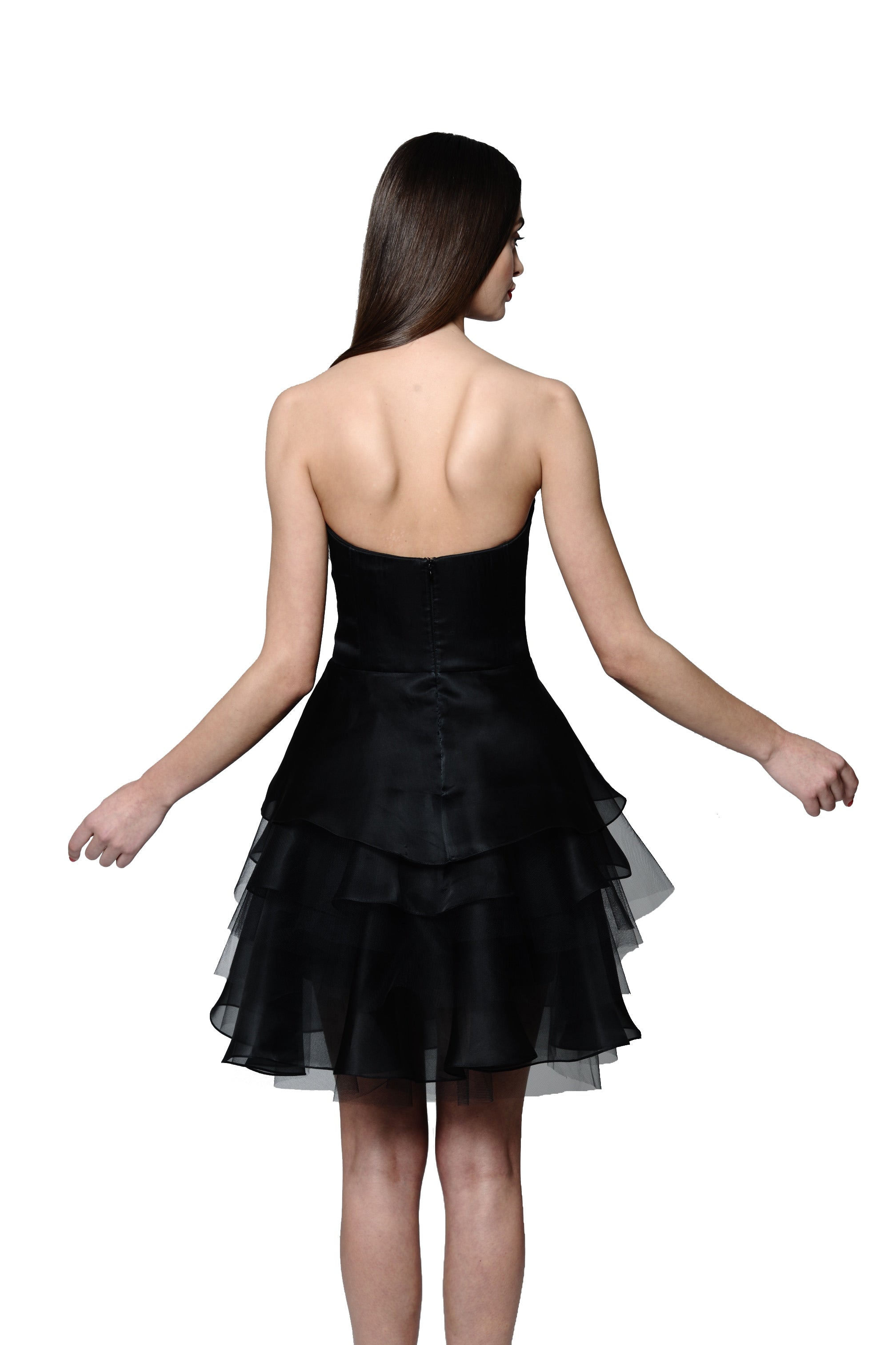 Jewel Embellished and Embroidered Silk Organza Little Black Dress