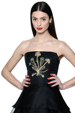 Load image into Gallery viewer, Jewel Embellished and Embroidered Silk Organza Little Black Dress