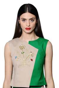 Green Sleeveles Top with Jewel Embellishments