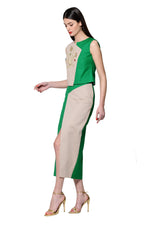 Load image into Gallery viewer, Green Asymmetric Tailored Maxi Skirt