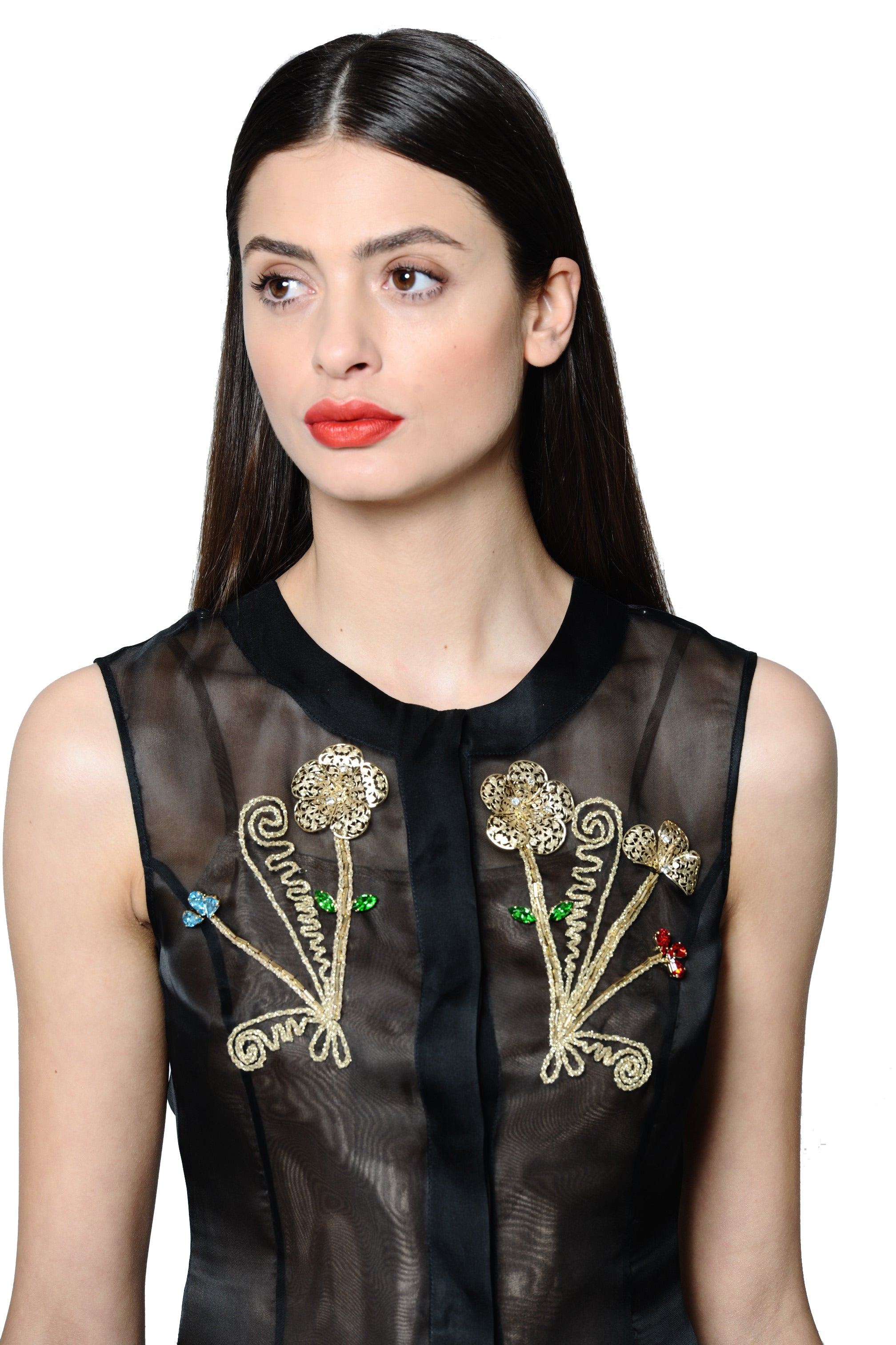 Jewel Embellished and Embroidered Black Silk Crepe de Chine Pleated Dress
