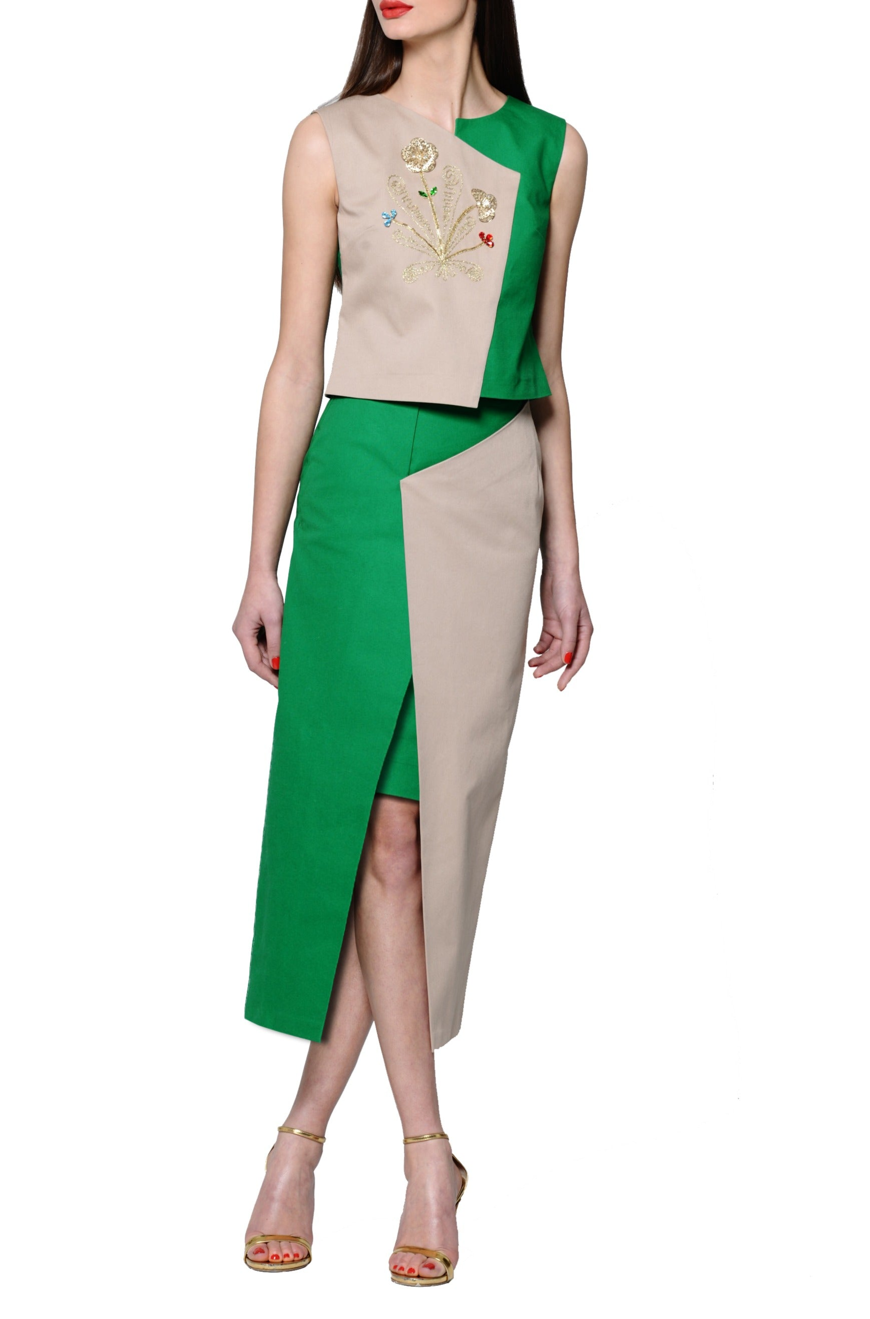 Green Asymmetric Tailored Maxi Skirt