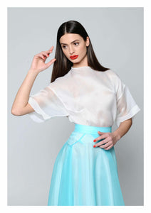 White Silk Organza Top