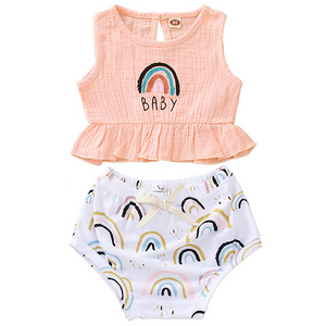 Rainbow Baby Ruffle Top & Bloomer Set