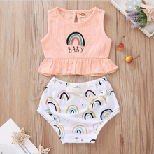 Load image into Gallery viewer, Rainbow Baby Ruffle Top & Bloomer Set