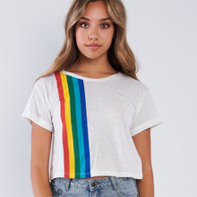 Load image into Gallery viewer, Junior woman crop top T-shirt rainbow design