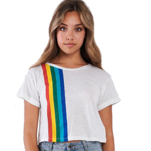 Junior crop top rainbow pattern stripe shirt