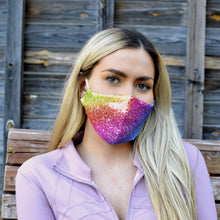 Load image into Gallery viewer, Rainbow Sequin Face Mask