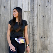 Load image into Gallery viewer, Girl wearing rainbow sequin fanny pack