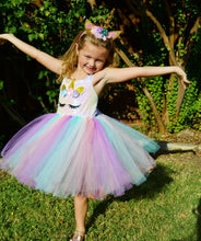 Load image into Gallery viewer, Girls Rainbow Unicorn Dress Set