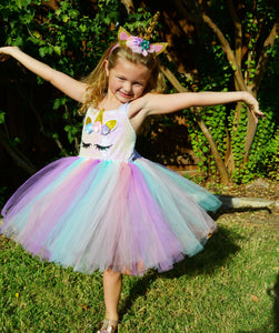 Girls Rainbow Unicorn Dress Set