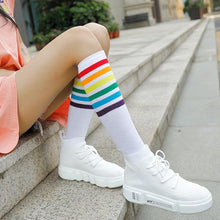 Load image into Gallery viewer, Knee High Socks with Rainbow Stripes