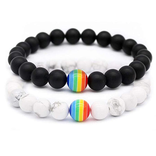 Rainbow Bracelet with Natural Stone White and Black