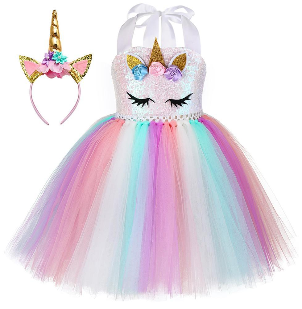 Unicorn Rainbow Dress with Matching Headset Perfect for Dress Up Costume For Kids Toddlers Girls
