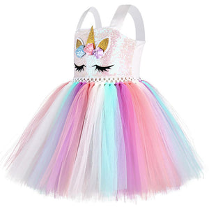 Unicorn Costume Rainbow Dress for Kids Toddlers Little Girls
