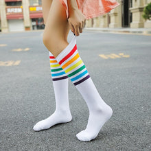 Load image into Gallery viewer, Rainbow Striped Knee High Socks Women Teens