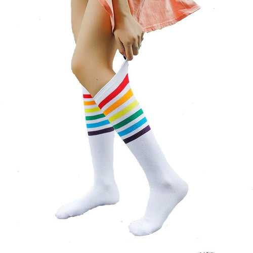 Knee High Socks with Rainbow Stripes