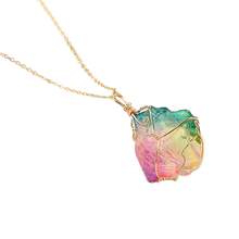 Load image into Gallery viewer, Rainbow Quartz Crystal Gemstone Necklace