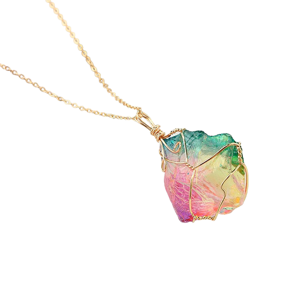 Rainbow Quartz Crystal Gemstone Necklace