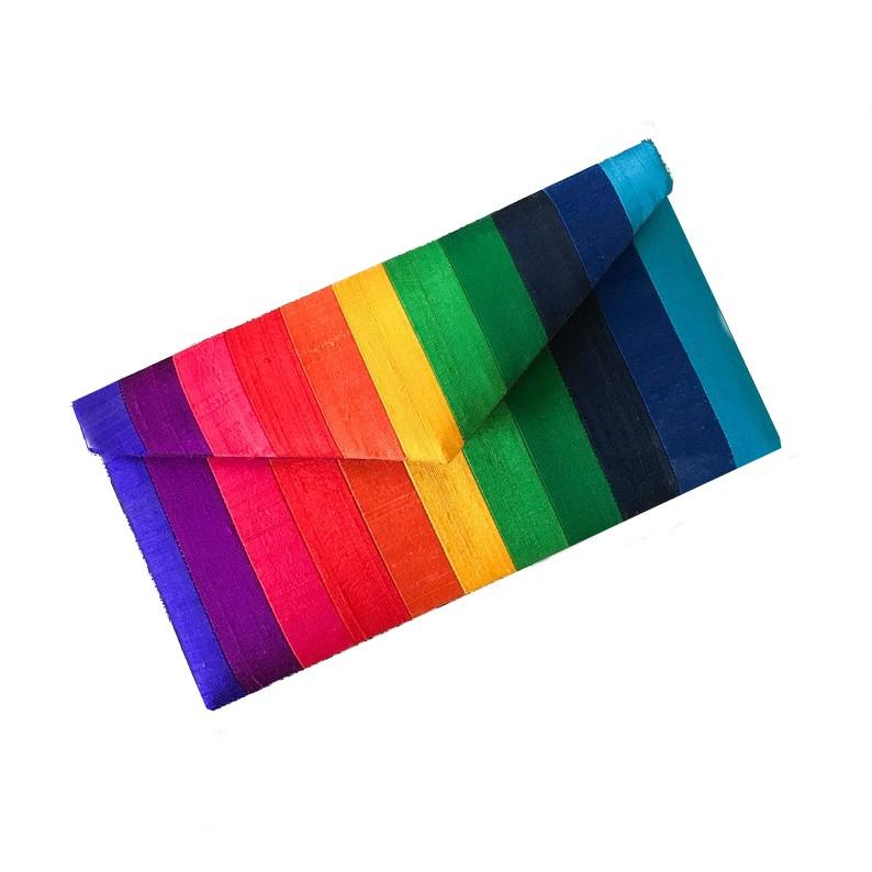 Rainbow Purse Clutch Made from Silk with Stripes