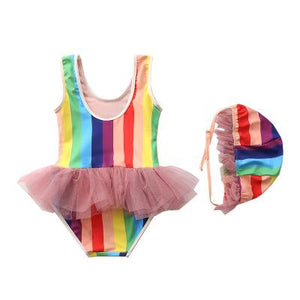 Baby Toddler Rainbow Tutu Bathing Swimsuit with Matching Hat