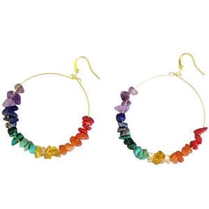 Gemstone Rainbow Hoop Earrings