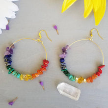 Load image into Gallery viewer, Rainbow gemstone hoop earrings