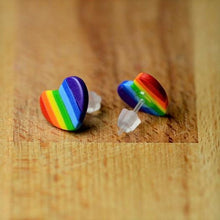 Load image into Gallery viewer, Rainbow Heart Stud Earrings