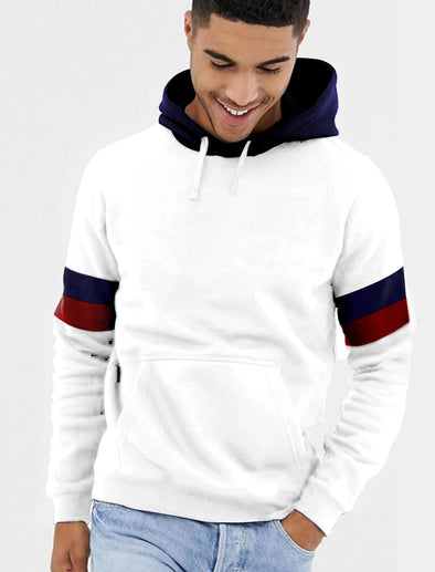 Arm Band Men White Hoodie Tshirt