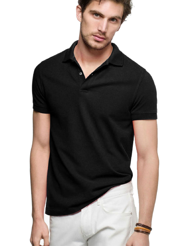 Plain Black Men Half Sleeve Polo Pique Tshirt