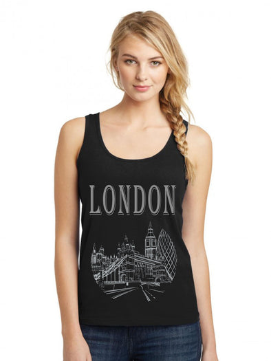 London Black Women Tank Top
