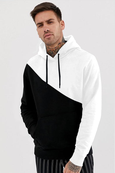 Half n Half Men Black and White Hoodie