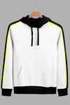 Stylish Running Arm Stripes Men White Hoodie