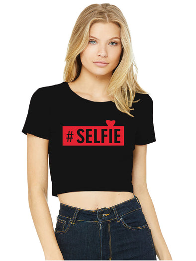 #Selfie Black Crop Top