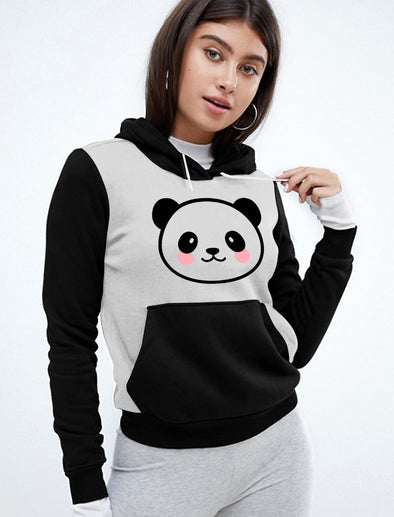 Cute Panda Women Black and Grey Hoodie Tshirt
