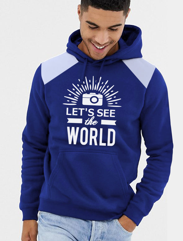Lets See The World Men Royal Blue Hoodie