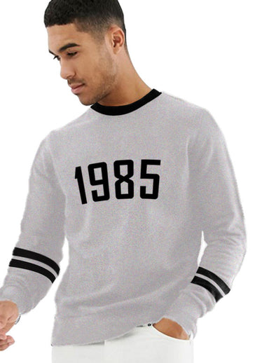1985 Men Grey Melange Sweatshirts