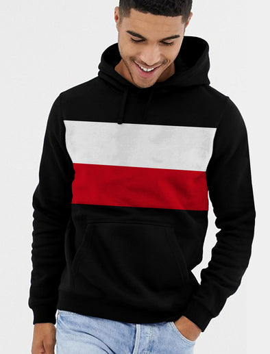 Double Stripe Men Maroon Black and White Hoodie