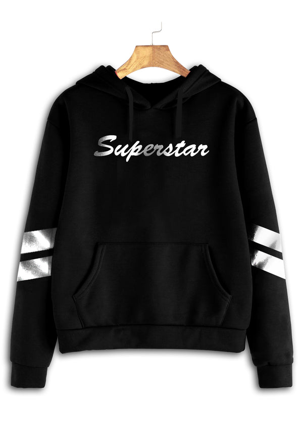 Superstar Women Black Hoodie Tshirt