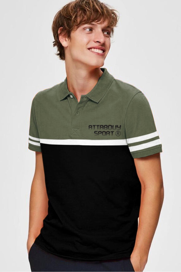 Olive Green and Black Attabouy Sports Men Polo Tshirt