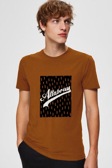 Attaboy Box Men Brown Half Sleeves Tshirt