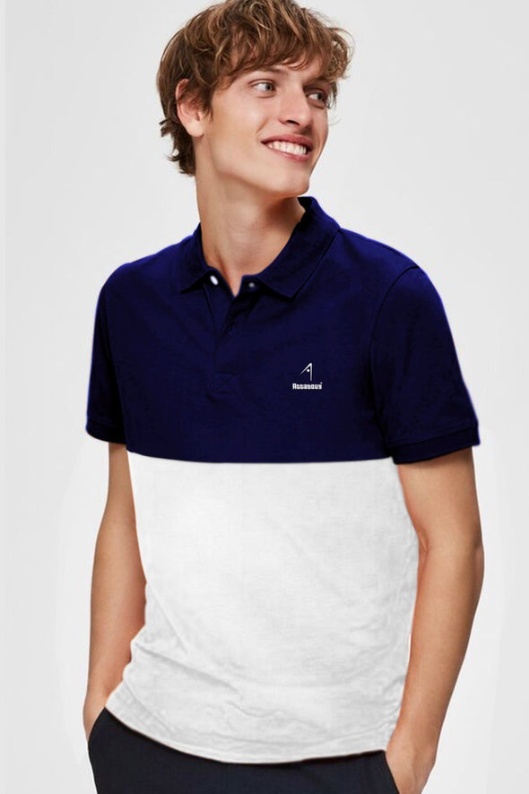 Navy Blue and White Men Half Sleeve Polo Pique Tshirt