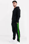 Neon Green Stripe Black Men Joggers