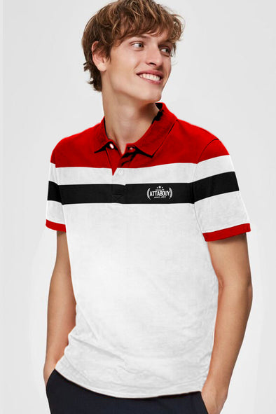 Red White and Black Stripe Men Half Sleeve Polo Tshirt