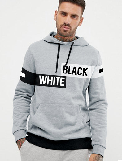 Black And White Men Grey Melange Hoodie