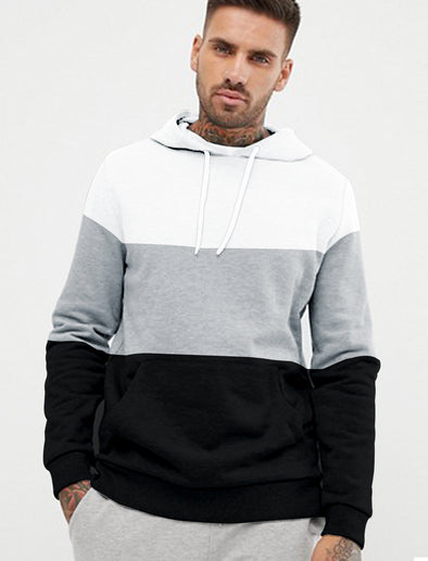 Stylish Men Grey Melange White And Black Hoodie