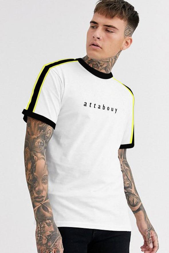 Attabouy White Men Half Sleeves Tshirt