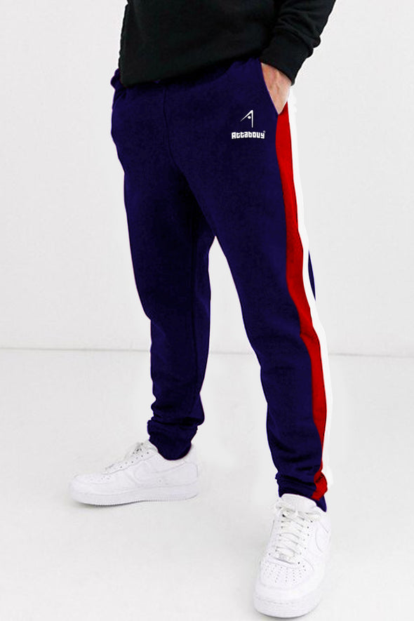 Red and White Stripes Navy Blue Men Joggers